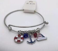 Sea Life Enamel Anchor Sailboat Yacht Charm Wire Bangle Bracelet beach nautical