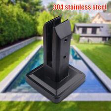 Black Floor Standing Square Glass Pool Fence Spigot Stair Balustrade Clamp US