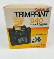 Kodak Trimprint 940 Instant Camera Polaroid Vintage with Electronic Flash & Box.