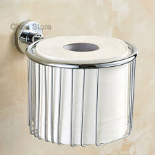 Wall Mount Polished Bathroom Round Toilet Paper Roll Basket Hand Tissue Holder