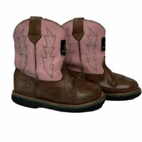 JOHN DEERE Girl's Infant Toddler Western Rodeo Cowboy Boots Pink Brown 8M