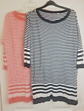 Uniqlo Ladies x2 Bundle Long Sleeve Light Striped Top Pullover Jumper Dress Sz L