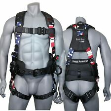 Afp Fall Protection Full Body Safety Harness Premium American Flag Bad Boy New
