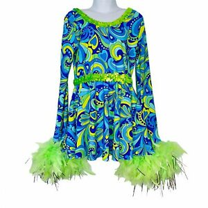 A Wish Come True Dance Costume Girl Power Dynamite Boa Youth SZ LC Blue 70s