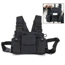 3 Pocket Hands Free Chest Harness Holster Walkie Talkie Radio Holder Vest Black
