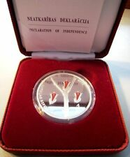 Latvia Lettland 1 Lats 2010 Declaration of Independence Proof Silver Silber PP