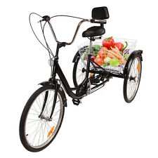 "6-Speed 24"" 3Wheel Adult Tricycle Bicycle Trike Cruise Bike Folding Basket black"