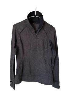Lululemon Womens 1/4 Zip Runner Top Jacket Size 8 Black Herringbone Long Sleeve