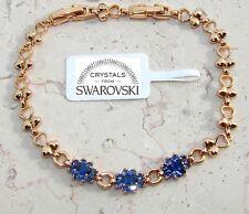 Bracciale Tennis Aurora oro 24k Uomo Donna cristalli,braccialetto colore blu SW3