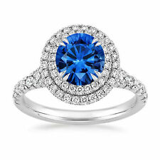 14K Hallmarked White Gold 2.20 Ct Natural Diamond Real Blue Sapphire Ring Size N
