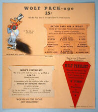 1945 Wartime WWII Womanizer Wolf Pack Novelty Kit with Ration Card Lapel Pin