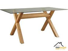 Scandinavian Clear Glass Dining Table Solid Oak Veneer Legs Modern Kitchen