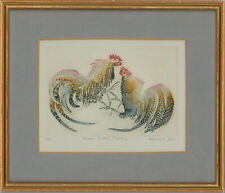 Rosamund Jones RE (b.1944) - Framed 20th Century Etching, Cockerels Fighting