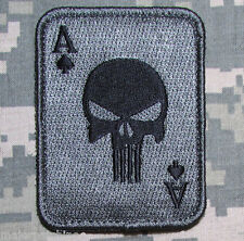 PUNISHER ACE OF SPADES DEATH CARD USA ARMY TACTICAL ACU DARK HOOK MORALE PATCH