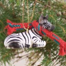 ZEBRA Ornament HAND PAINTED resin FIGURINE Christmas Mini Safari ZOO WILD ANIMAL