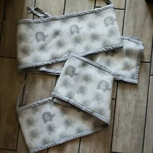 Breathable Baby Mesh Crib Liner Bumper Gray Elephants Unisex