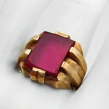 Ruby 10 K Yellow Gold Retro Style Mans Ring Synthetic