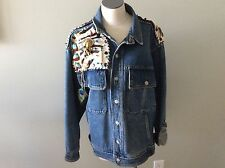 Maurice Sasson KIKIT Denim Jeans Jacket Leather Cowden B 1987 Southwest Style