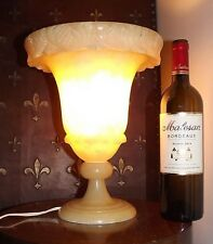 Important French Antique Alabaster trumpet lamp vase lampe Albâtre