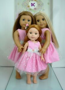 WELLIE WISHERS Handmade PINK SPARKLE DRESS HAIR BOW 14.5 INCH DOLL CLOTHES