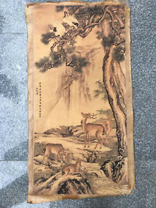 Chinese old Rice Paper Picture Shen Quan's picture  pine crane and deer painting