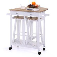 Oak White Kitchen Island Cart Dining Table Storage 2 Bar Stools & Drawers