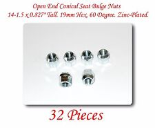 "32 Pcs Open End Conical Seat Bulge Nuts 0.827"" Tall 19mm Hex 60 Degree. M14x1.5"