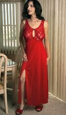 (L) Sexy Lingerie Long Red Night Gown  see through Stretch Lace Keyhole top (L)