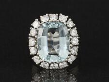 Aquamarin Brillant Ring 1,38ct (Gravur) & ca. 6,00ct Aquamarin 585/- Weißgold