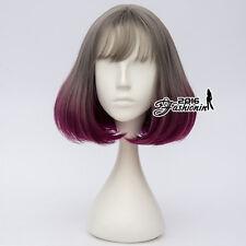 "Lolita 12"" Short Bob Gray Mixed Purple Wavy Ombre Cosplay Wig Heat Resistant"