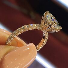 Women Stone14K Gold Plated Diamond Silver Ring Wedding Engagement Gift Size6-10