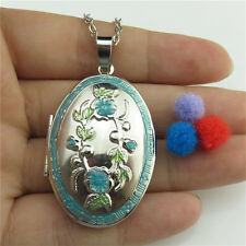 Dull Silver Alloy Oval Diffuser Photo Picture Locket Enamel Blue Flower Necklace