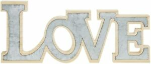 MyGift Silver Metal and Natural Wood Cutout LOVE Block Word Decorative Sign