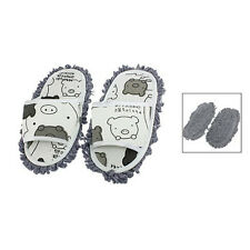 Home Pair Dust Floor Cleaning Mopping Slippers Shoes White/Dark Gray Color AD