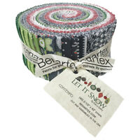 """Let It SNOW (40)2.5"""" Jelly Roll Strips Precut Cotton quilting Fabric snowmen"""