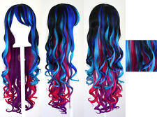 29'' Long Curly w/ Long Bangs Bold Multi-Colored Rainbow Cosplay Wig NEW