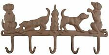 Shabby Chic Cast Iron Curvy Tail row of Dogs Wall Coat/Home Hooks 34x2x17cm