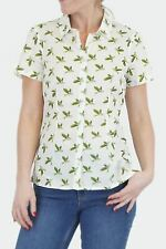 White Stuff Womens Blouse Fitted Green White Parrot Bird Ladies Blouse Shirt Top