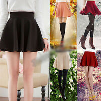 Korean Womens Girl Stretch High Waist Skater Flared Pleated A-line Mini Skirts
