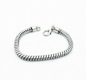925 Sterling Silver - Shiny Polished Spiral Twist Snake Chain Bracelet - B7425