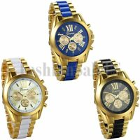 Men's Luxury Gold Tone Stainless Steel Military Date Digital Analog Quartz Watch