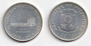 1974 25th Anniversary Banko Sentral ng Pilipinas 1 Piso Philippine Silver Coin