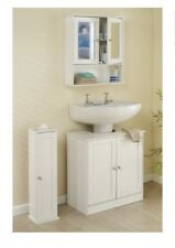 3 PIECE WHITE BATHROOM UNIT SET WALL MIRROR CABINET FURNITURE UNDER SINK STORAGE