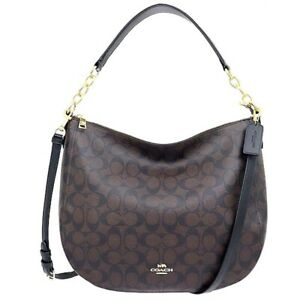 Coach Elle Hobo Shoulder Handbag In Signature Canvas Im/Brown Black