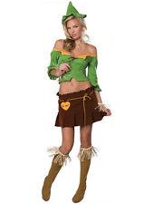 Ladies Small 6-8 Sexy Halloween Scarecrow Fancy Dress Wizard Of Oz Costume New