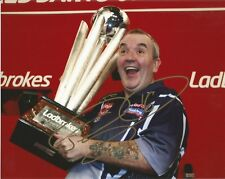 DARTS: PHIL TAYLOR 'THE POWER' SIGNED 10x8 TROPHY CELEBRATION PHOTO+COA**PROOF**