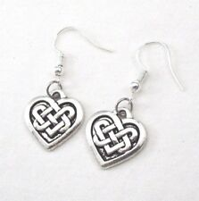 Celtic Knot Earrings 925 Sterling Hook Vintage Silver Alloy Irish Love Charm