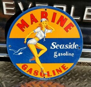 OLD 1947 SEASIDE MARINE PORCELAIN SIGN GAS OIL NAVY SAILOR PIN UP SEAGULL BUICK