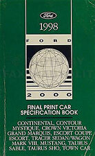 1998 Ford Service Specs Manual Crown Victoria Taurus and SHO Lincoln Town Car