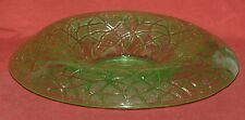 Imperial Rolled Edge Console Bowl Green Glass Tree Of Life Pattern